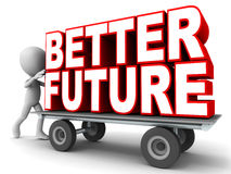 Better future. Word better future on a push cart, little 3d man pushing the cart on white background, red colored text Royalty Free Stock Photos