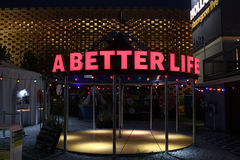 A better life. Neon red sign at milan expo 2015. Photo taken on 1st of August 2015 stock images