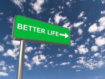 Better life sign. Better life written on green highway sign with directional arrow against blue sky royalty free stock photo