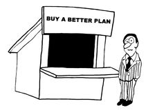 A Better Plan. Black and white business illustration about a businessman pondering buying a better plan Royalty Free Stock Photography