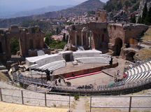 The better side of art. An hold greek theatre in sicilly, taormina Royalty Free Stock Photos