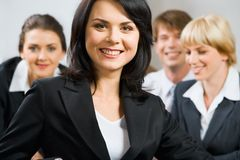 Better specialist. Portrait of better specialist on the background of business team royalty free stock images