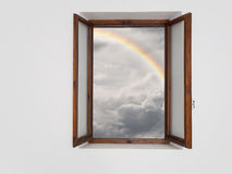 Better times ahead, concept. Window on improved weather. Stock Images
