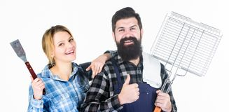 We are better when we together. Family weekend. Man bearded hipster and girl. Preparation and culinary. Couple in love stock image