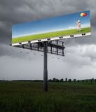 Better tomorrow. Billboard on the field with cloudy sky Royalty Free Stock Images