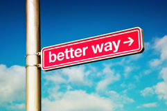 Better way. Street sign Better way against the cloudy sky stock photos