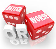 Better Worse Two Red Dice Words Improve Chance Stock Images