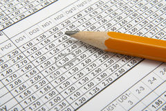 Betting 1. Close up of sports betting slip and pencil Stock Image