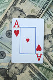 Betting on Ace of hearts Royalty Free Stock Image