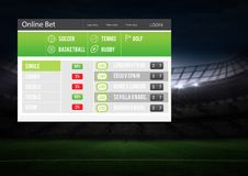 Betting App Interface stadium Stock Photography