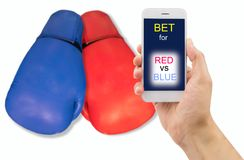 Betting in boxing match. Man is betting through his smartphone at the boxing match on a white background royalty free stock photography