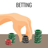 Betting concept. Hand moving poker chips isolated on white Stock Image