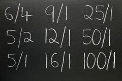 Betting odds. Betting odds written on a blackboard Royalty Free Stock Images