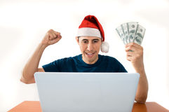 Betting online at Christmas Stock Image