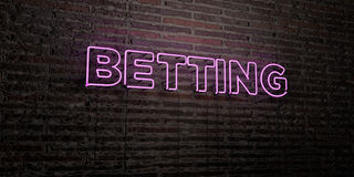 BETTING -Realistic Neon Sign on Brick Wall background - 3D rendered royalty free stock image Stock Photos