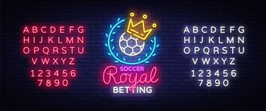 Betting Soccer neon sign. Football betting logo in neon style, Royal concept, light banner, bright night betting sports
