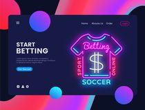 Betting Sport neon creative website template design. Vector illustration Betting Sport concept for website and mobile. Apps, business apps, marketing, neon vector illustration