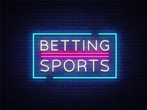 Betting Sports vector. Betting neon sign. Bright night signboard on gambling, betting. Light banner, design element.  Stock Photos