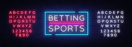 Betting Sports vector. Betting neon sign. Bright night signboard on gambling, betting. Light banner, design element