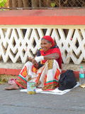 Bettlerdame Bandra Mumbai Indien Stockfotografie