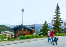 Bettmeralp village summer view (Switzerland) and family. Royalty Free Stock Image