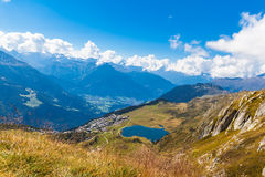 Bettmersee (Lake) and the alps in Valais stock images