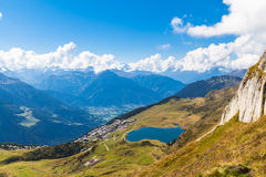 Bettmersee (Lake) and the alps in Valais royalty free stock photography