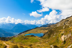Bettmersee (Lake) and the alps in Valais royalty free stock photos
