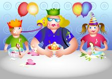день рождения betty получает приглашенную партию к Стоковые Фотографии RF