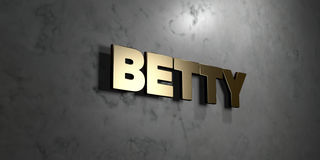 Betty - Gold sign mounted on glossy marble wall  - 3D rendered royalty free stock illustration Stock Images