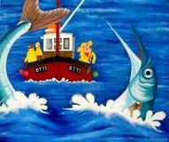 Betty va la pesca en mar stock de ilustración