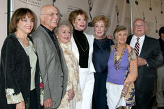 Betty-Weiß, Cloris Leachman, Ed Asner, Mary Tyler Moore, Valerie Harper Stockbild
