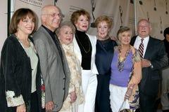 Betty White, Cloris Leachman, ED Asner, Mary Tyler Moore, Valerie Harper stock afbeelding
