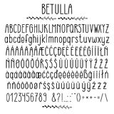 Betulla - modern rounded grotesque font. Minimalistic typeface. Alphabet character set, uppercase and lower case, numerals and punctuations, multilingual royalty free illustration