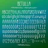 Betulla - modern rounded grotesque font. Minimalistic white typeface. Alphabet character set, uppercase and lower case, numerals and punctuations, multilingual stock illustration