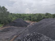 Betuminoso - carvão antracífero, carvão do nível superior fotografia de stock