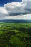 Betwen heaven and earth. Shoot from helicopter royalty free stock photography