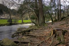 Betws-y-coed. A village in the heart of Snowdonia national park and the river Conwy royalty free stock photos