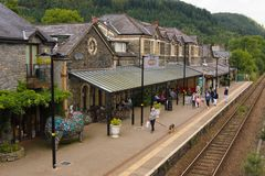 Betws y Coed Railway Station. Betws-y-Coed railway station on the Conwy Valley Line built in 1868 the station buildings now house various shops and cafes royalty free stock images