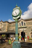 Betws y Coed Railway Station. The village clock outside Betws-y-Coed railway station built in 1868 the station buildings now house various shops and cafes royalty free stock photography