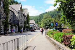 Betws-y-Coed, Wales. Betws-y-Coed, Wales, UK. August 04, 2017. The main A5 road running through the village in the Conwy valley at Betws-y-Coed in North Wales stock images