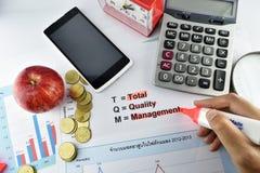 Betydelse av TQM med dokumentet, pengar, klocka, äpple, räknemaskin Arkivfoton
