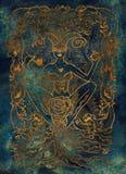 Betyder det latinska ordet Luxuria för lusta sexuell lust Begrepp för sju dödliga synder, guld- kontur på blå bakgrund stock illustrationer