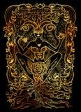 Betyder det latinska ordet Luxuria för lusta sexuell lust Begrepp för sju dödliga synder på svart bakgrund royaltyfri illustrationer