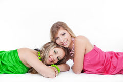 Beuaitful models. Two beautiful blond models posing over white stock images