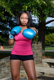Beuatiful African American woman working out - boxing Stock Images