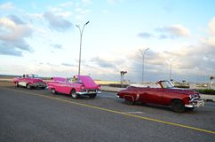 Beuatiful American cars at Malecon in Havana, Cuba Stock Image