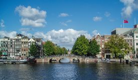 Beuatiful canal bridge in Amsterdam Royalty Free Stock Photo
