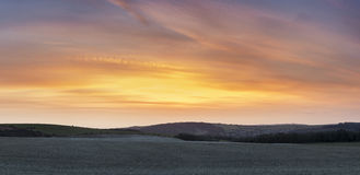 Beuatiful large panorama landscape of susnet over countryside Royalty Free Stock Photo