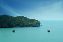 Beuatiful  sea with two boat in Thailand Royalty Free Stock Image
